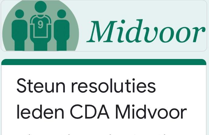 Midvoor vraagt steun voor resoluties